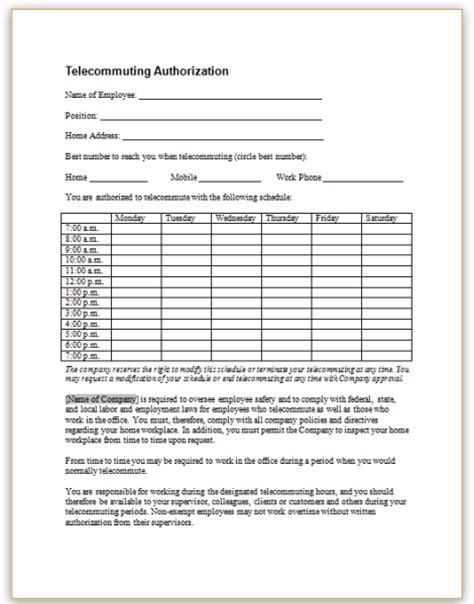 telework agreement template this sle form enables an employee to submit a