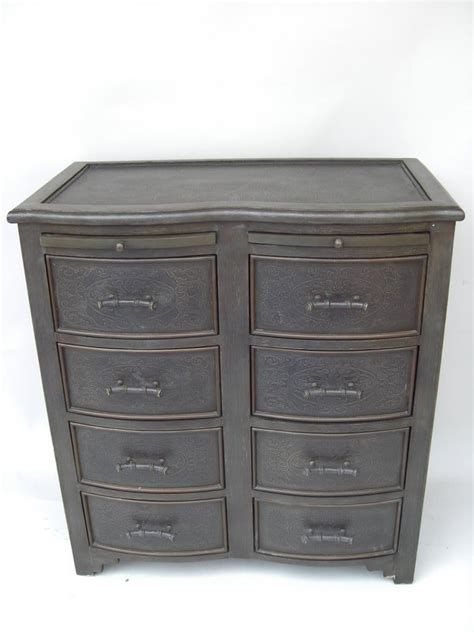 Decorative Drawers by Decorative Black 8 Drawer Chest With Metal Top For Sale