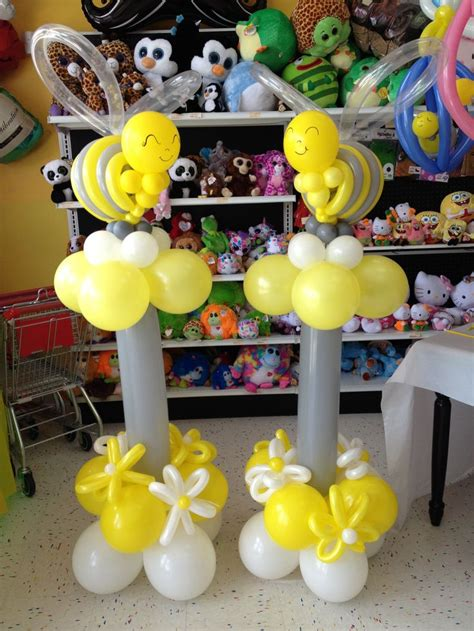 Balloon Tower For Baby Shower by Baby Shower Bee Themed Balloon Towers Balloon Ideas