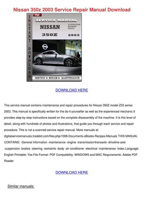 2003 Nissan 350z Service Manual Nissan 350z 2003 Service Repair Manual Downlo By
