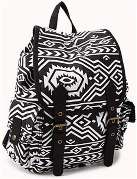 black pattern backpack forever 21 tribal pattern backpack in white black white