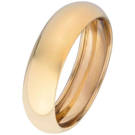 Buy 9ct Gold Rolled Edge D Shape Wedding Ring   6mm at