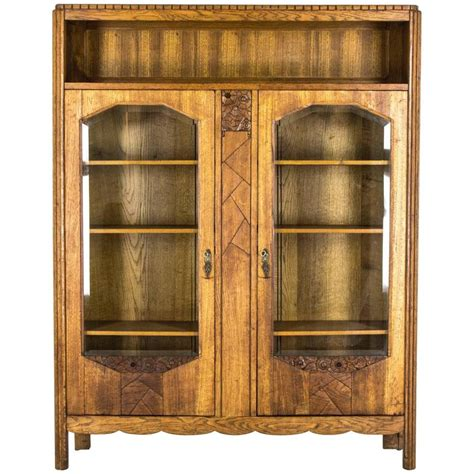 Antique Display Cabinets With Glass Doors Antique Scottish Deco Two Door Bookcase Display Cabinet Beveled Glass For Sale At 1stdibs