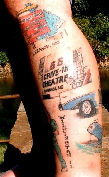 man covered in tattoos jones the route 66 covered with pics of