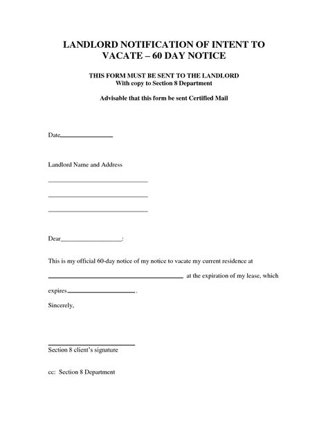 60 day lease termination notice template 60 day notice to vacate template world of letter format