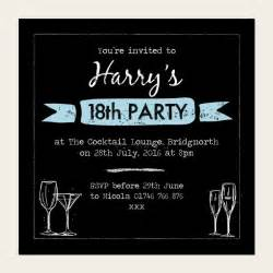18th birthday card invitation templates 18th birthday invitations boys chalkboard