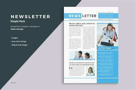 Business Newsletter Template Brochure Templates Creative Market Simple Newsletter Templates Free