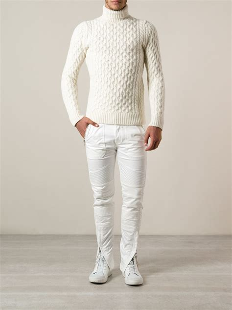 mens white cable knit sweater diesel cable knit turtleneck sweater in white for lyst