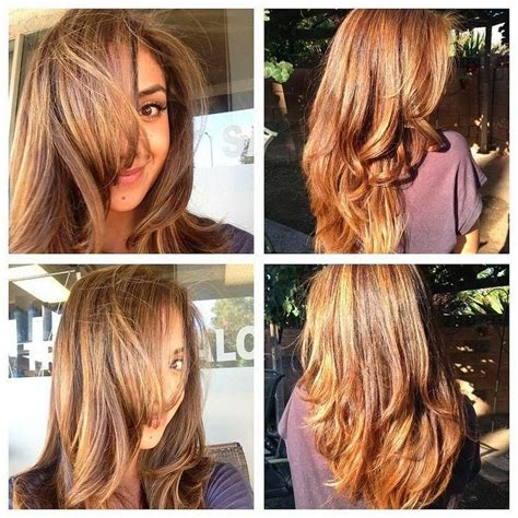 spring highlights for brunettes caramel base with honey blonde highlights hair color ideas