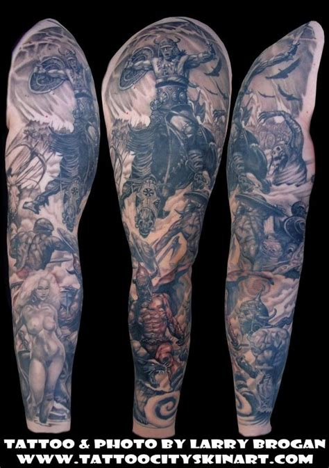 city tattoo frank frazetta sleeve by larry brogan tattoos