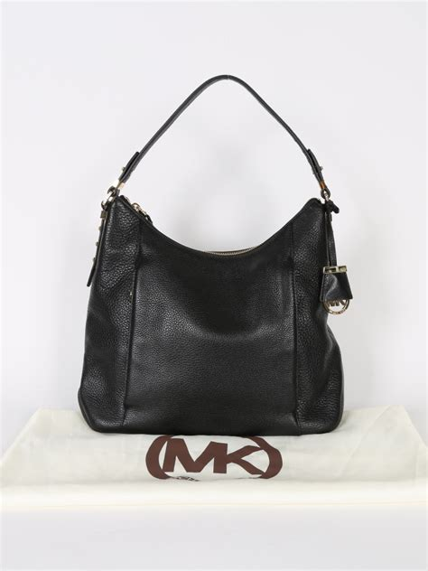 michael kors bowery black leather shoulder bag luxury bags