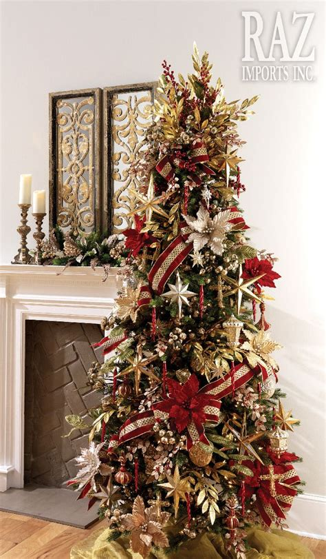 starry night cool christmas trees red  gold
