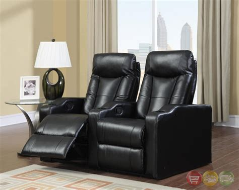Reclining Theatre Seats by Black Bonded Leather Home Theater Seating Reclining 2