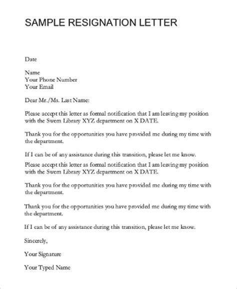Letter Of Resignation To Hr Department Sle Resignation Email 7 Exles In Pdf Word