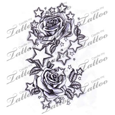 rose and star tattoo designs marketplace and roses 12338 createmytattoo