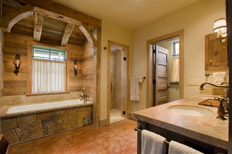 Country Rustic Bathroom Ideas by Hill Country Retreat