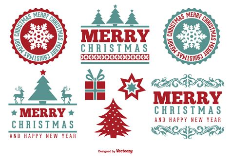 cute merry christmas label set   vector art stock graphics images