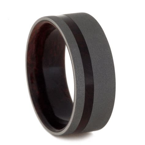 sandblasted titanium sandblasted titanium wedding band with wood