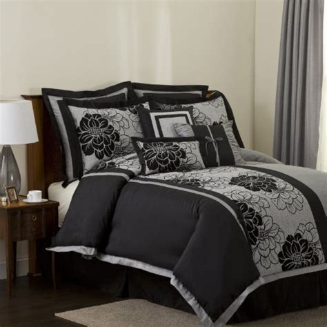black gray comforter sets lush decor pasadena 8 piece comforter set king black
