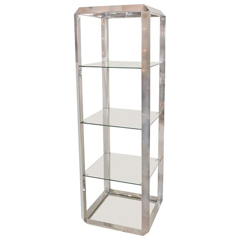 etagere glas chrome and glass four shelf etagere etageres