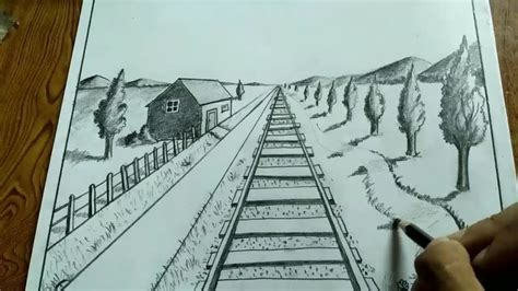 2 Drawings In 1 by How To Draw Landscape Using 1 Point Perspective Drawing