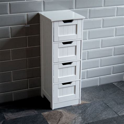 Bathroom 4 Drawer Cabinet Storage Cupboard Wooden White Discount Bathroom Storage Cabinets