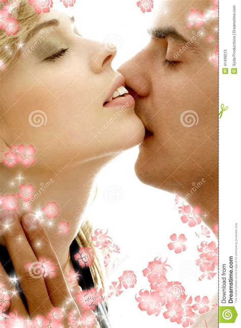 sensual colors gentle kiss with flowers stock photo image 41499513