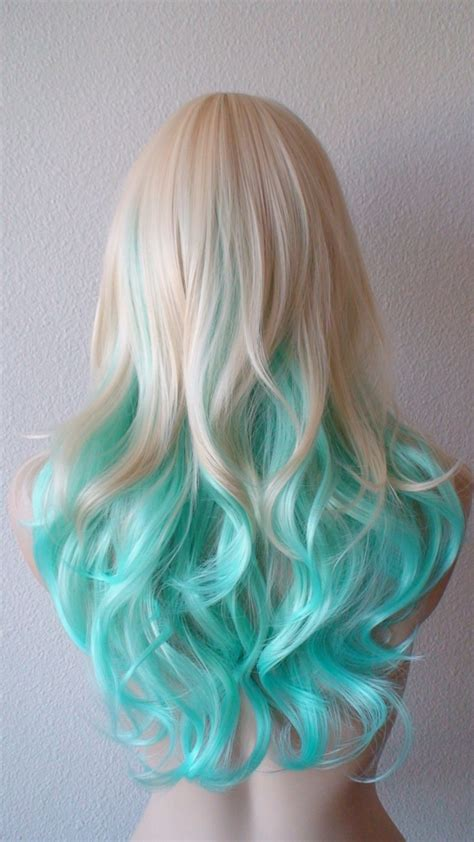 blonde wig colours blonde mint teal color wig wig hair haircolor scene