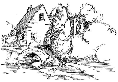 Coloring Page Landscape by Landscape Coloring Pages For Adults