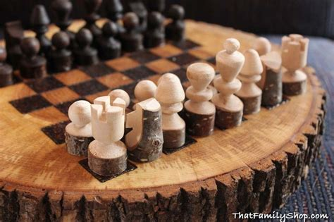 rustic wooden chess board chess set unique wood games