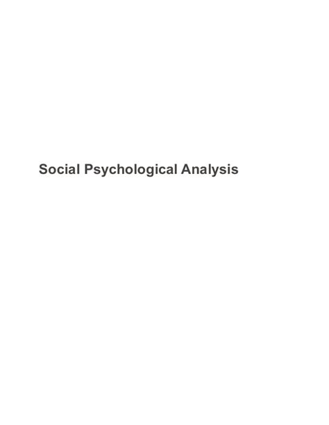 Social Analysis Essay by Social Psychological Analysis Sle Paper Essay