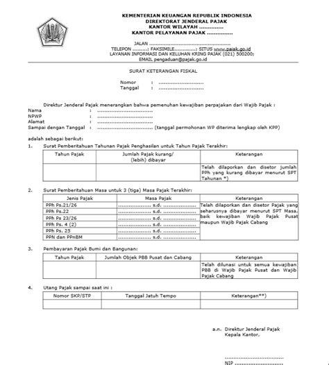 surat keterangan fiskal untuk tender dan caleg