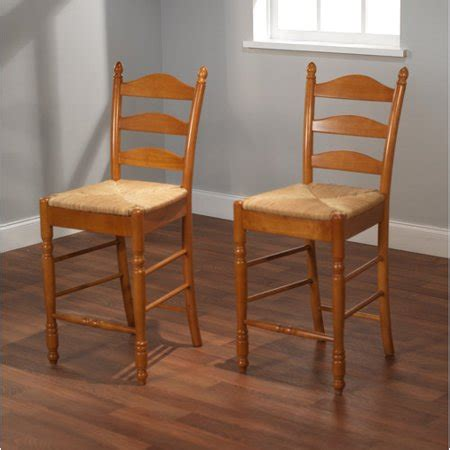 Ladder Back Bar Stools With Seats by Ladder Back Seat Counter Stools 24 Quot Set Of 2