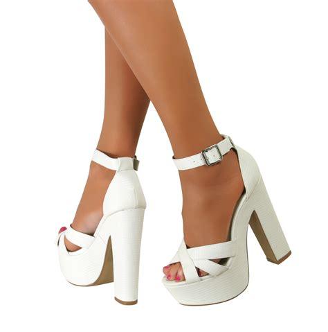 high heel shoes sandals ankle peep toe platform chunky block high