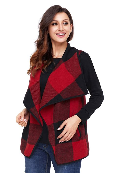 Plaid Open Front Vest dear lover black plaid open front vest