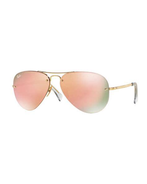 Rimless Aviator Sunglasses ban rimless mirrored iridescent aviator sunglasses
