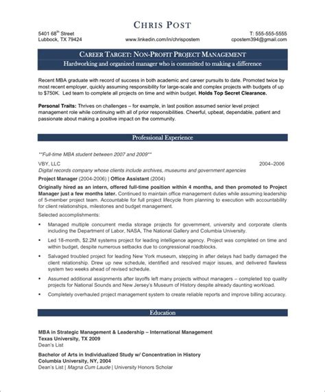 Project Manager Resume Templates Free project manager resume sle