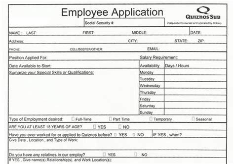 printable universal job application quiznos application pdf print out