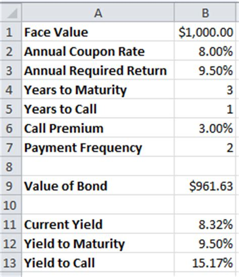 exle of yield to maturity calculating yield on bonds c to f