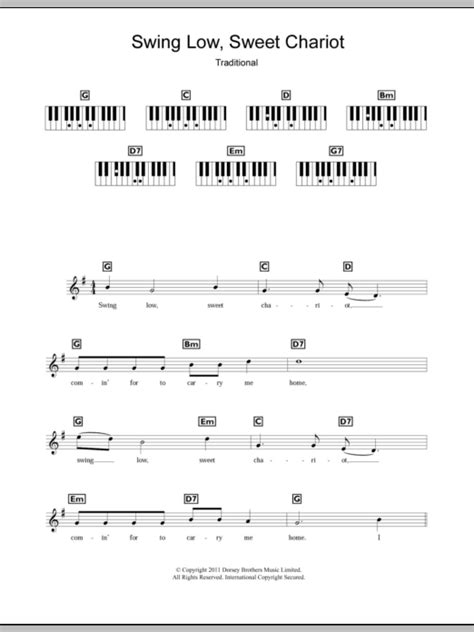 swing low sweet chariot piano chords traditional spiritual swing low sweet chariot sheet