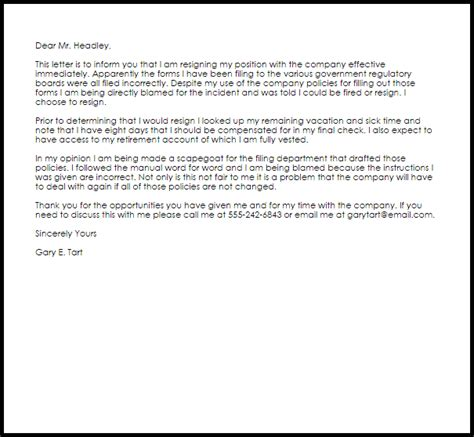 Forced Resignation Letter   Resignation Letters   LiveCareer
