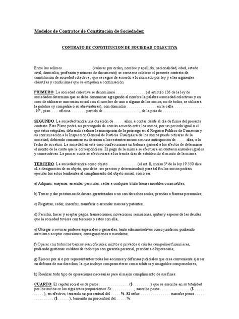 modelo de contrato de una sociedad civil crear empresas modelos de contratos de constituci 243 n de sociedades