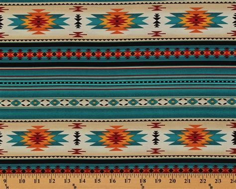 Canvas Rug Tribal Ungu cotton southwestern american aztec tucson 201 turquoise stripes pattern cotton fabric