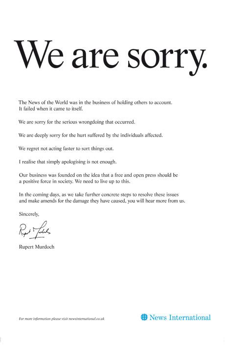 Apology Letter To For Using Phone Phone Hacking Friday 15 July 2011 Media Theguardian