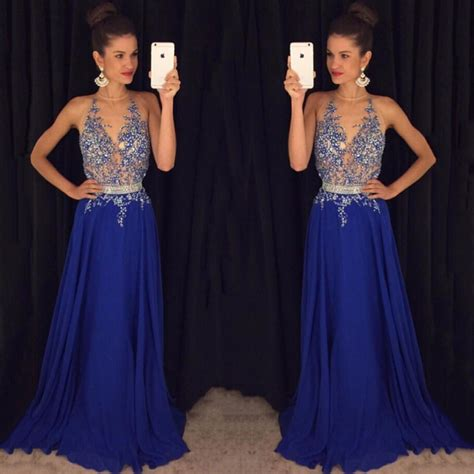 beaded blue prom dress with beaded belt open