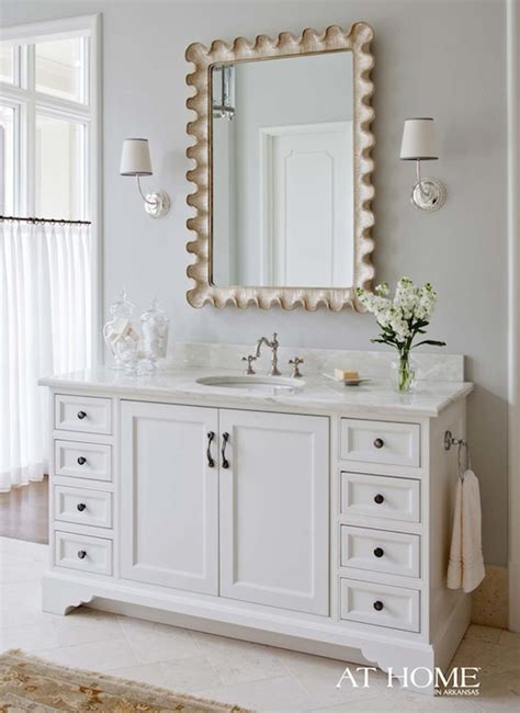 scalloped rectangle mirror transitional bathroom