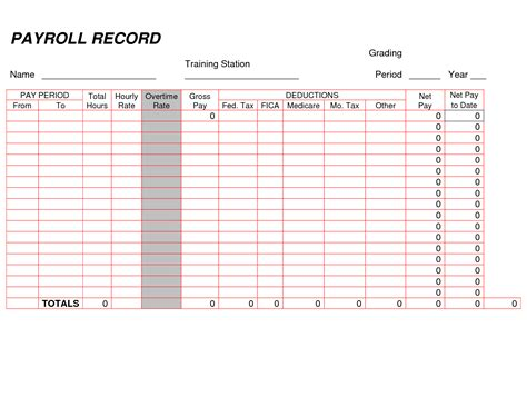 printable payroll ledger blank payroll record pdf