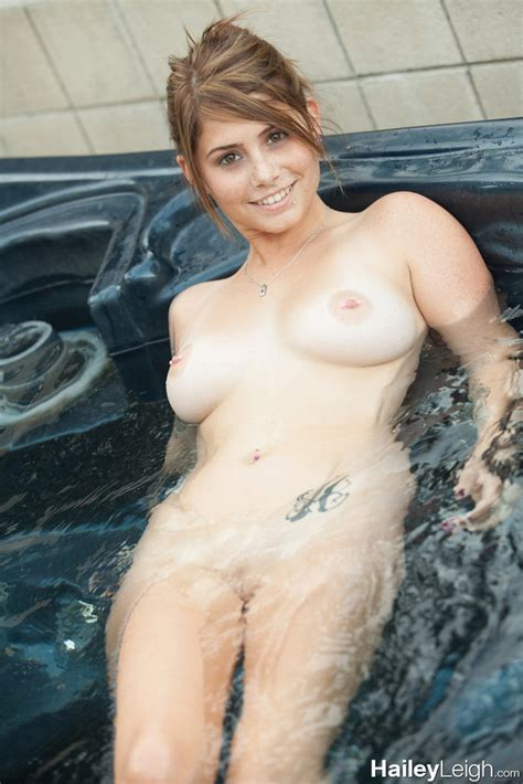 Hailey Leigh Naked In A Hot Tub Showing Her Boobs