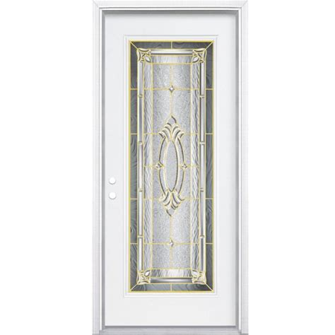 32 Inch Exterior Door Masonite 32 Inch X 80 Inch X 6 9 16 Inch Brass Lite Right Entry Door With Brickmould