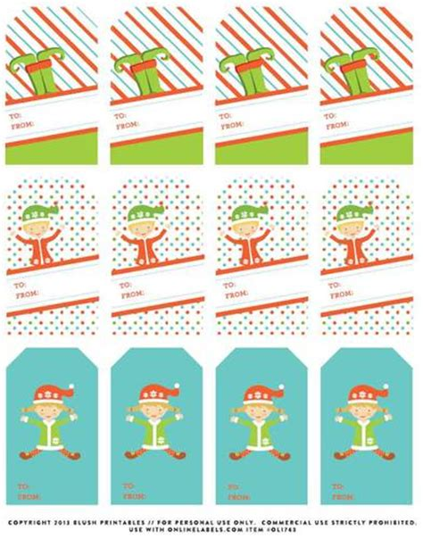 free printable elf name tags to and from christmas gift tag labels label templates